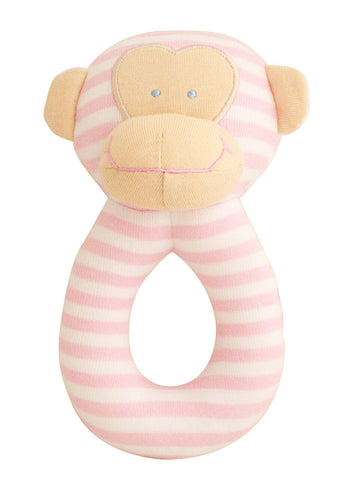 Alimrose  Monkey Grab Rattle Pink Stripe