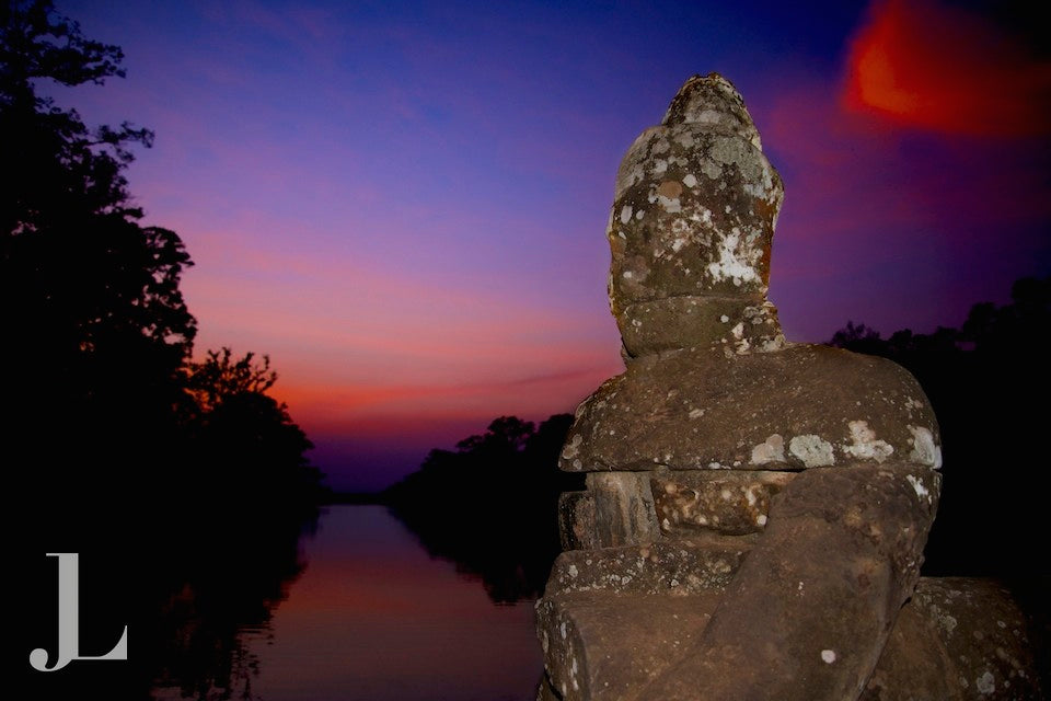 Sunset from the South Gate of Angkor Thom.