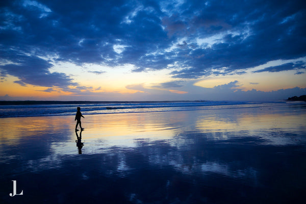 Beautiful sunset reflection from Double Six Beach Bali