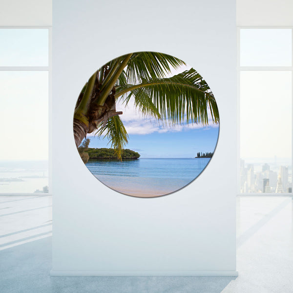 Island Dream Art on Glass Porthole exclusive to John Lechner Art unique