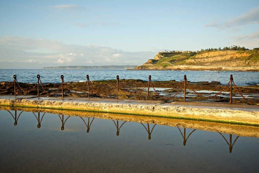 Canoe Reflections - Newcastle Ocean Baths Australia Landscape Print