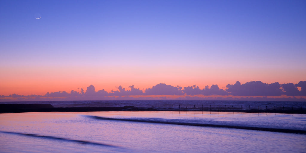 Pastel Moon - Canoe Pool Newcastle Baths, Australia Landscape Print