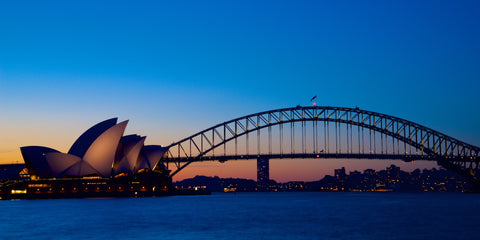 Sydney's icons at sunset - Sydney Harbour NSW Australia Landscape Print