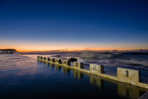 Baths Dawn - Merewether Ocean Baths Newcastle NSW Australia Landscape Print