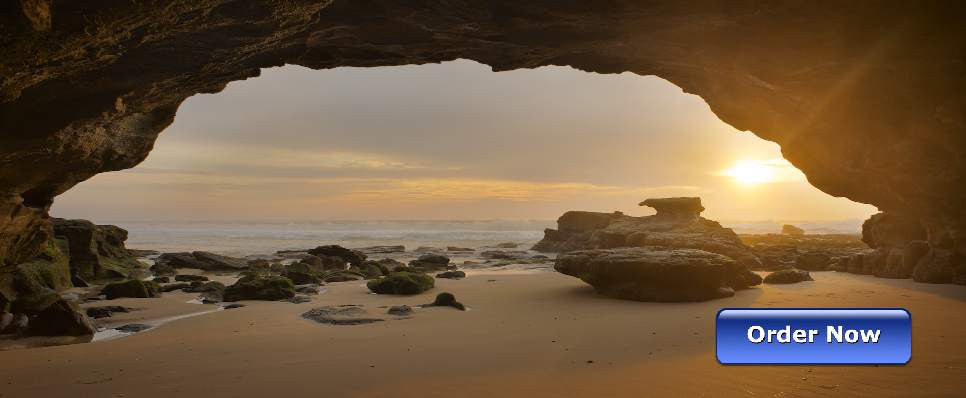 Landscape Photo Art Eye of morning, Caves Beach Australia - Art on Glass Limited Edition