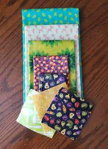 Beeswax Wraps - 8 Piece Set - Knee High Package - 3 XS, 1 S, 1 M, 1 L, 1 XL, 1 Bread