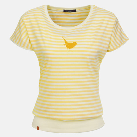 Greenbomb T-Shirt gelb gestreift Vogel