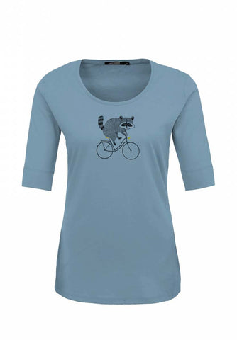Greenbomb Damen T-Shirt Bike Raccoon Dirty Blue
