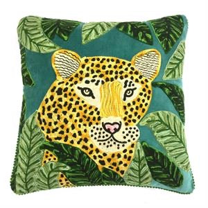 Only Nature Kissen mit Leopard Stickerei
