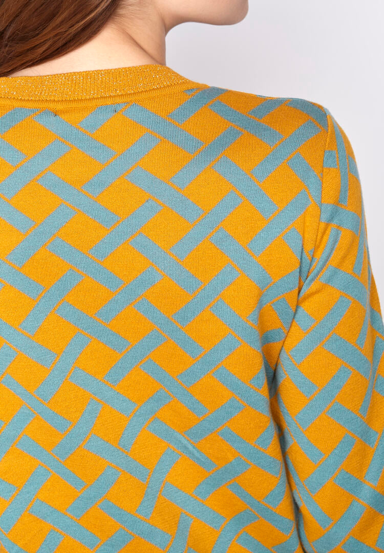 Greenbomb Damen Pullover Gracile Yellow Blue Check