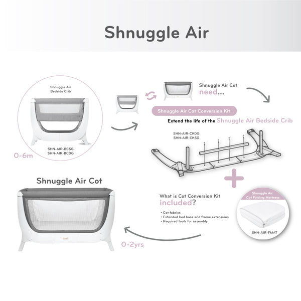 Shnuggle Air Bedside Crib - Stone Grey (5)