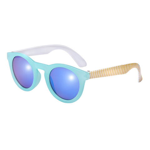 Frankie Ray Candy Milky Aqua Golden & White Stripe Sun Glasses