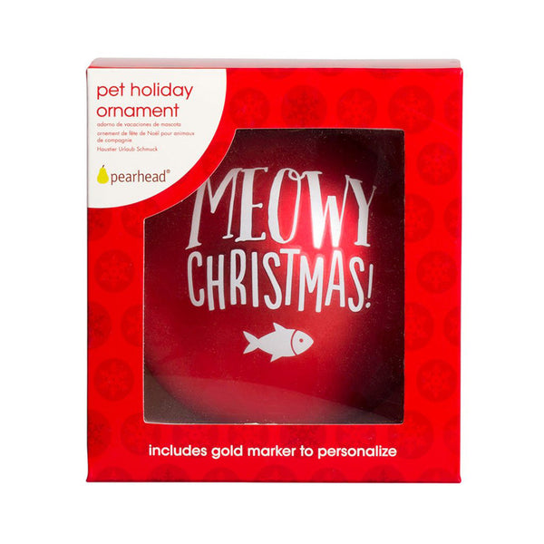Pearhead Pet Meowy Christmas Ball Ornament - Red (2)