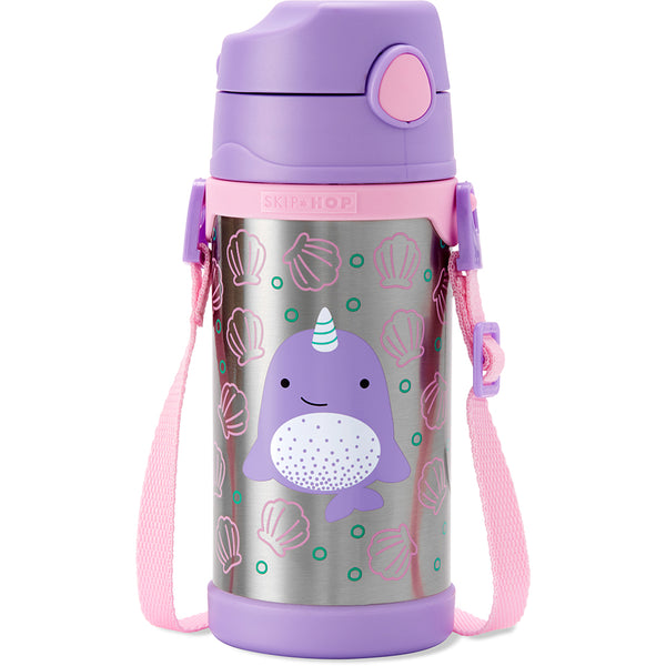 Skip Hop Zoo Nova Narwhal Stainless Steel Straw Bottle