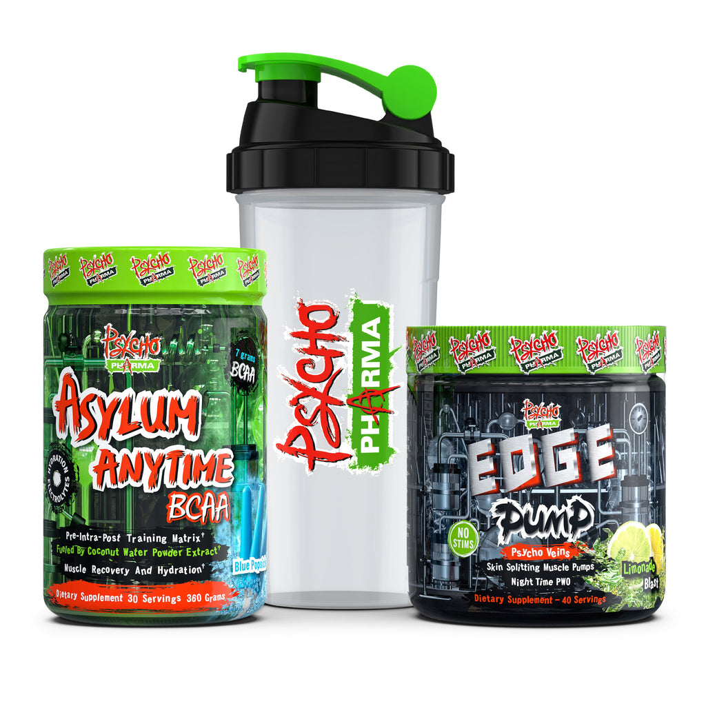 Psycho Pharma No Stimulants Stack: Asylum Anytime BCAA and Edge Pump - www.psychopharma.com