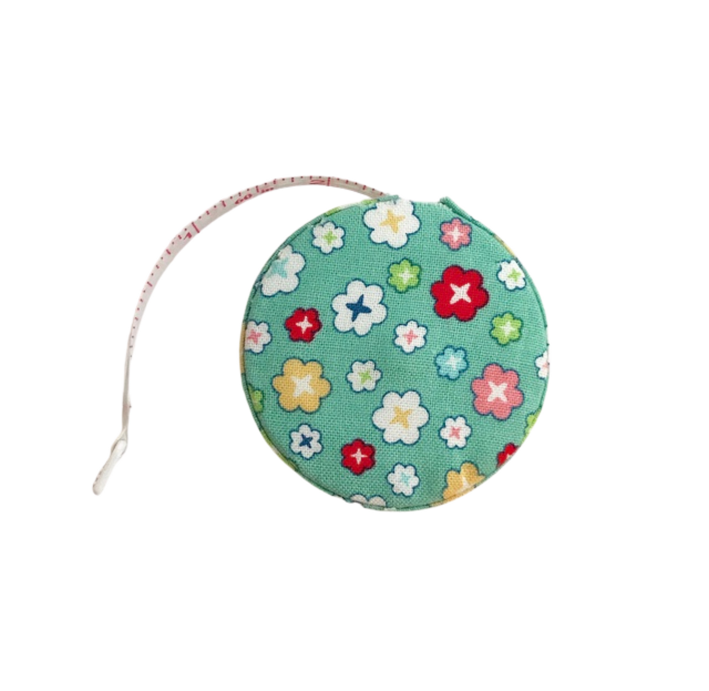 Fabric Covered Tape Measure - Teal with Flowers