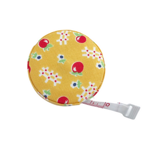 Fabric Covered Tape Measure - Yellow with Apples