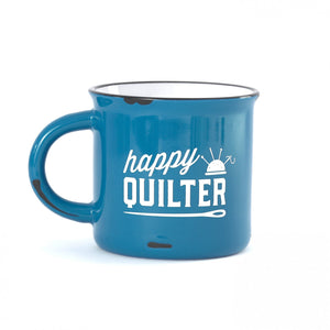 Happy Quilter Camp Mug - Blue