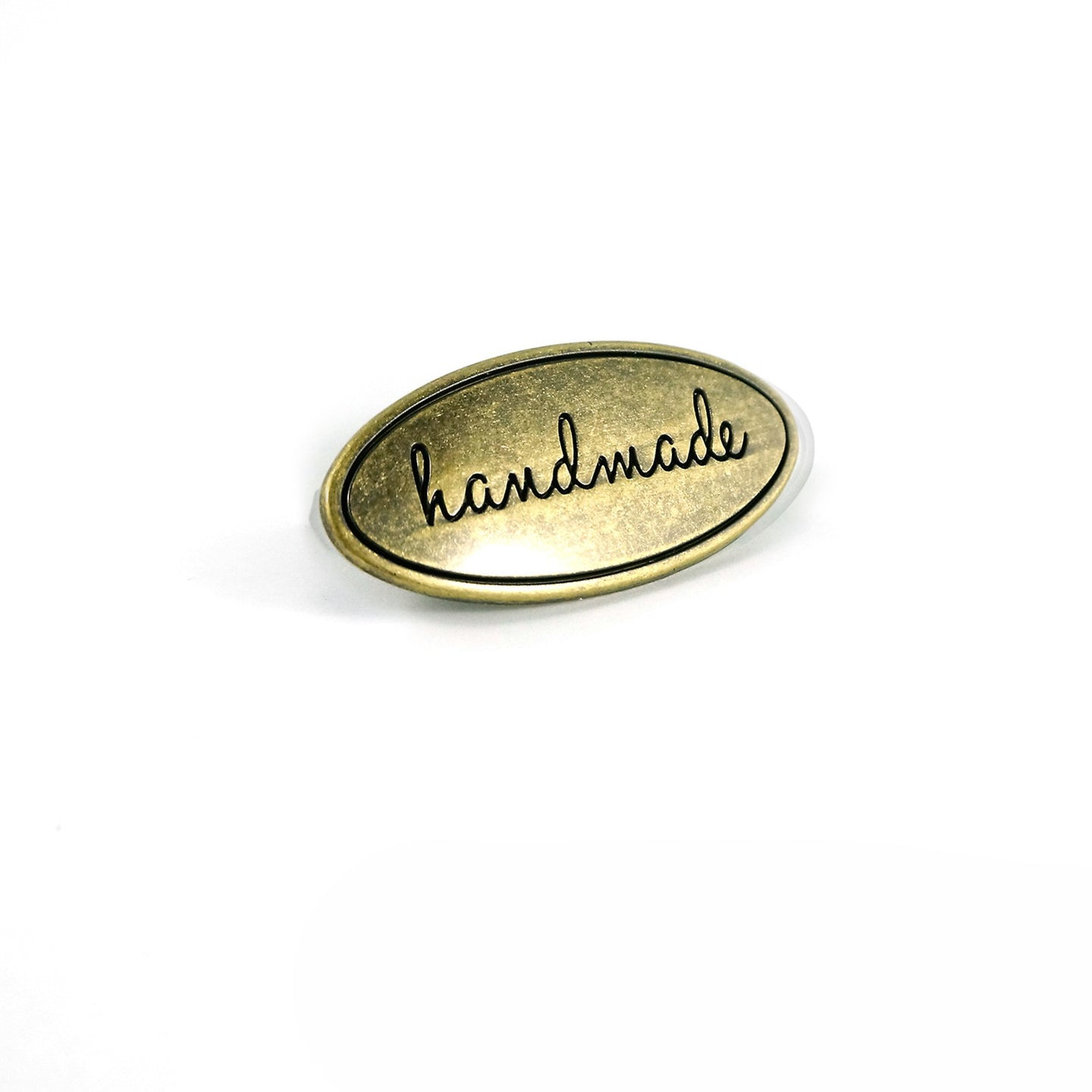 Metal Bag Label - Oval - Handmade in Antique Brass