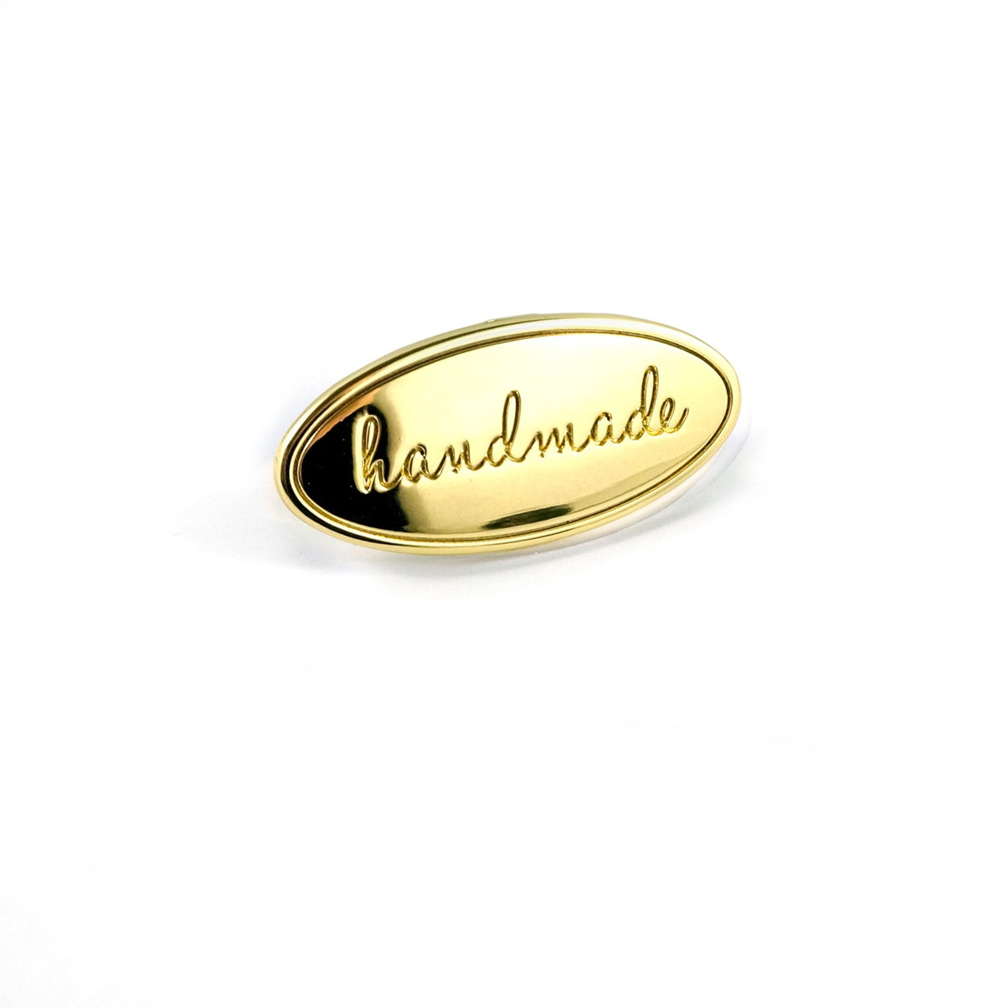 Metal Bag Label - Oval - Handmade in Gold