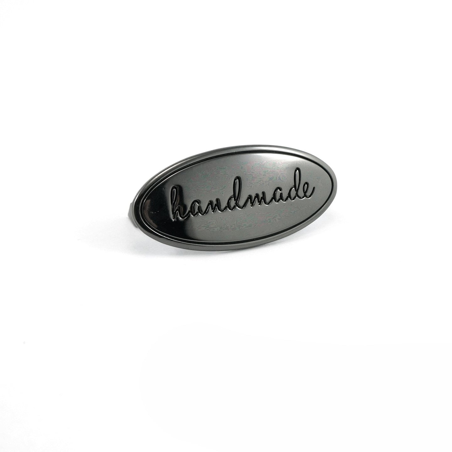 Metal Bag Label - Oval - Handmade in Gunmetal