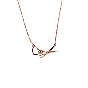 Scissor and Heart Necklace - Rose Gold