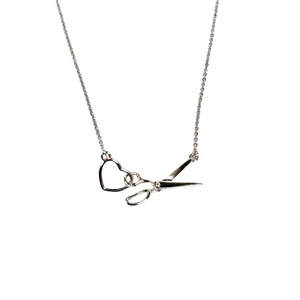 Scissor and Heart Necklace - Silver