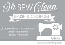 Load image into Gallery viewer, Oh Sew Clean Brush & Cloth Set - Gray