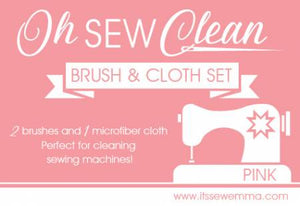 Oh Sew Clean Brush & Cloth Set - Pink