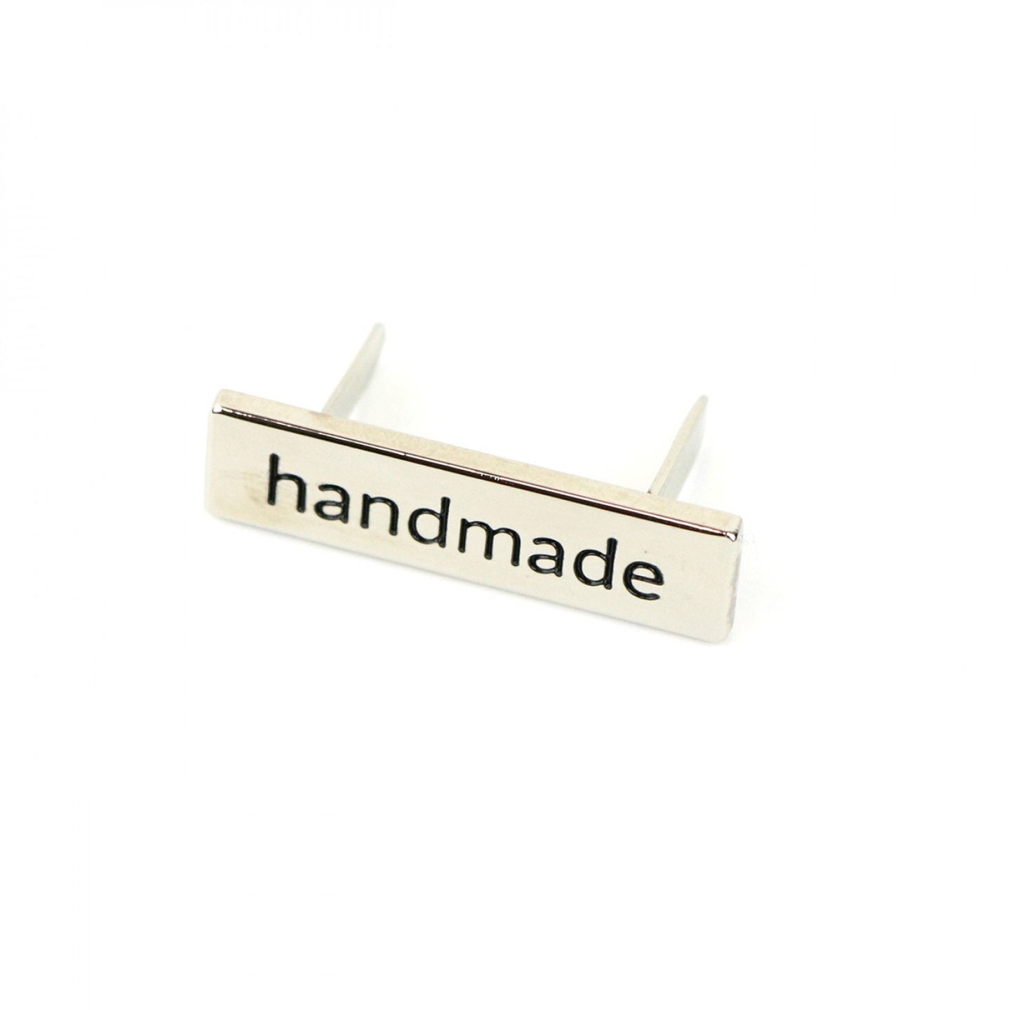 Metal Bag Label - Handmade in Serif - Nickel
