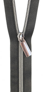 Zippers by the Yard - Black Tape with Gunmetal Teeth