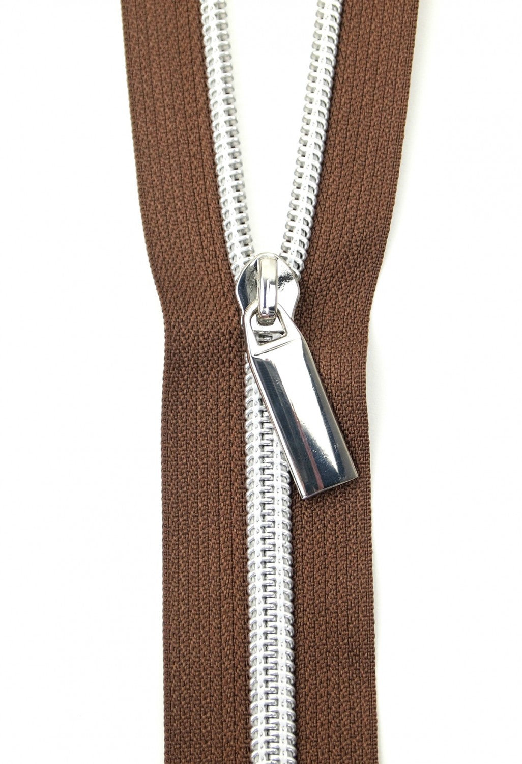 Zippers by the Yard - Brown Tape with Nickel Teeth