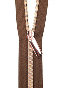 Zippers by the Yard - Brown Tape with Rose Gold Teeth