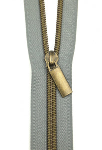 Zippers by the Yard - Grey Tape with Antique Teeth
