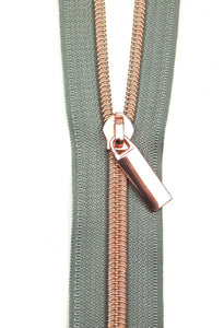Zippers by the Yard - Grey Tape with Rose Gold Teeth
