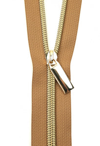 Zippers by the Yard - Natural Tape with Gold Teeth