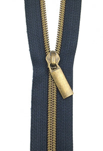 Zippers by the Yard - Navy Tape with Antique Teeth