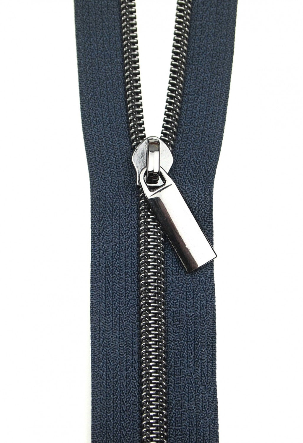 Zippers by the Yard - Navy Tape with Gunmetal Teeth