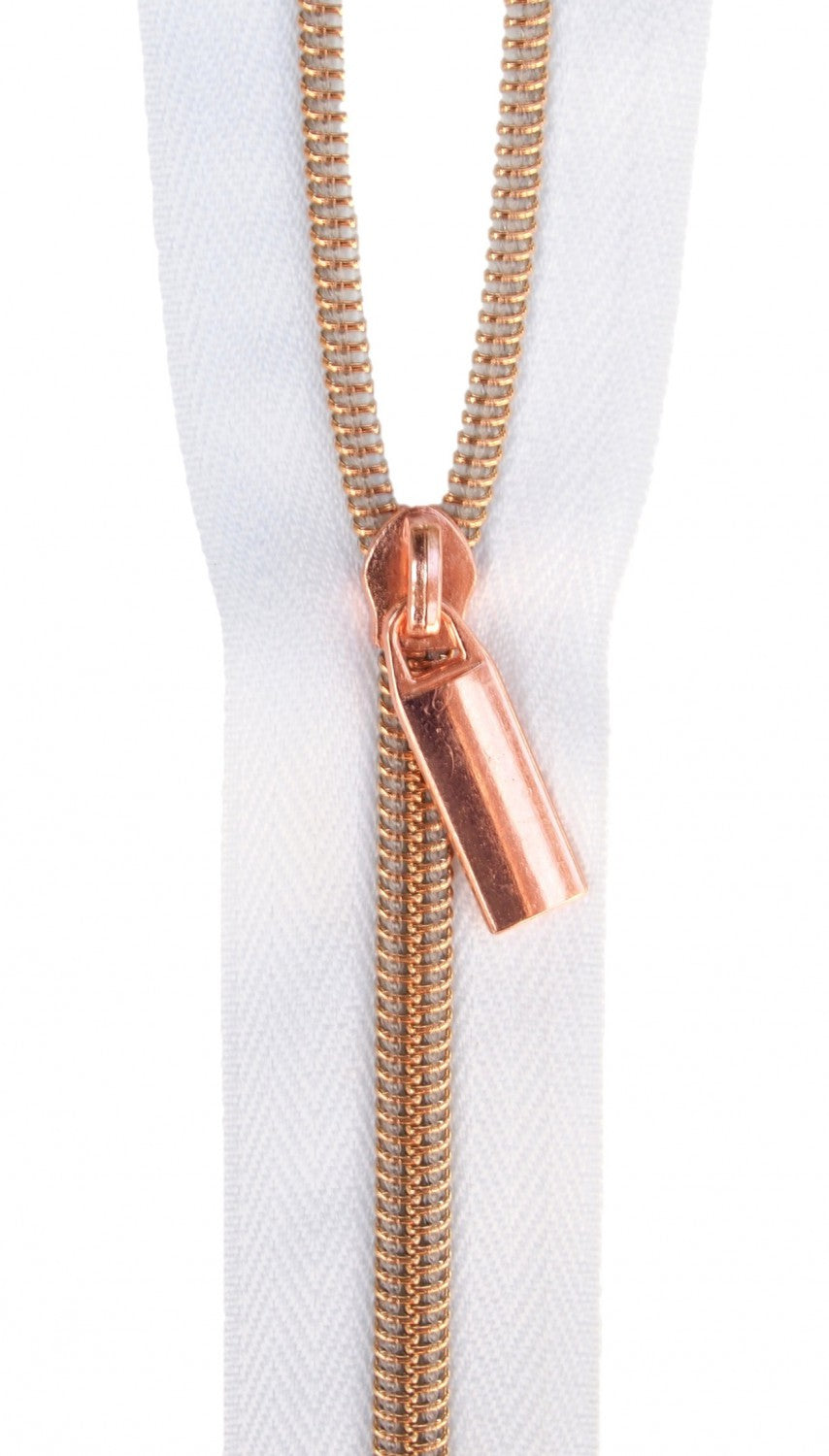 Zippers by the Yard - White Tape with Rose Gold Teeth