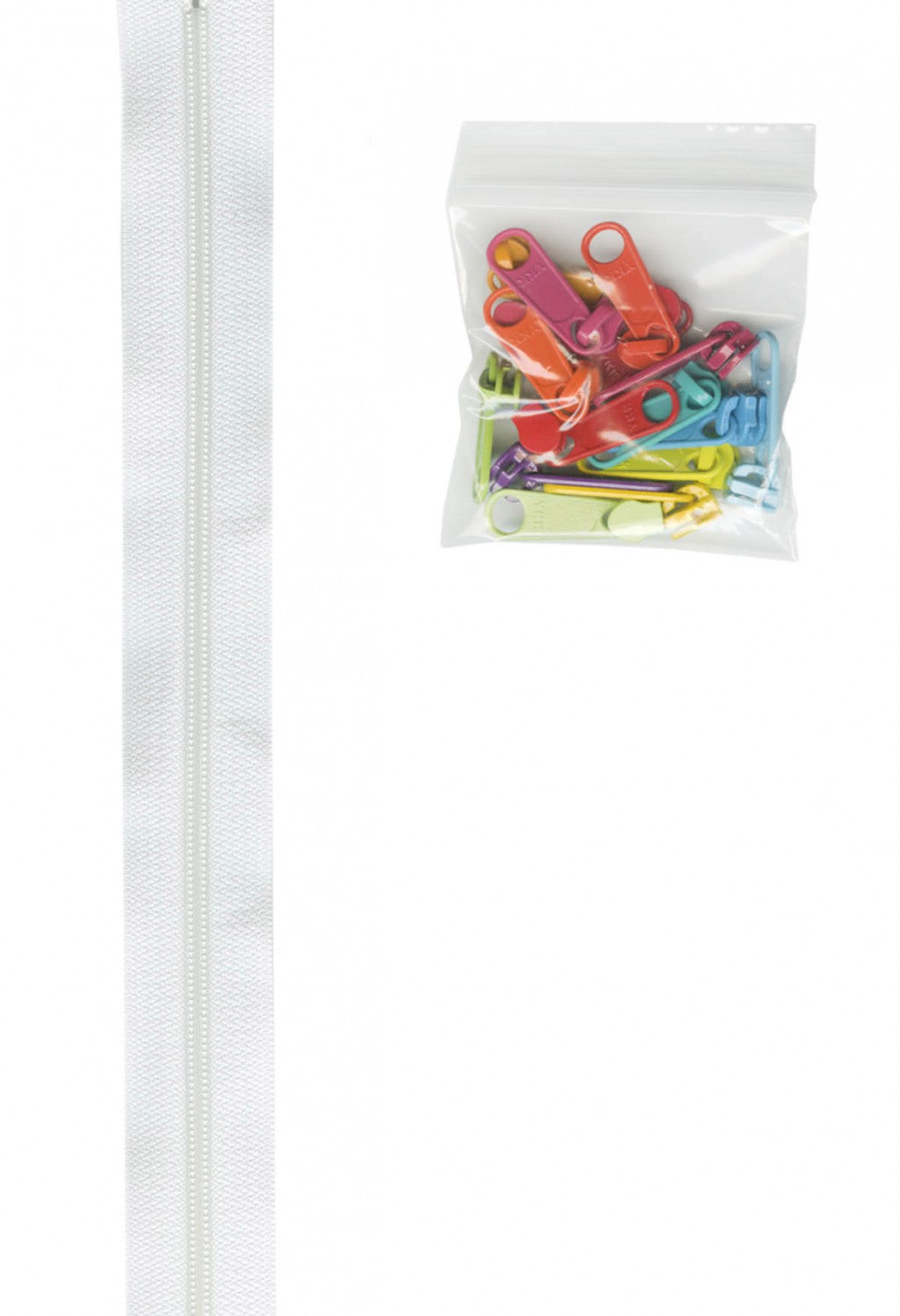 Zippers by the Yard - White Tape with Multi Colored Pulls