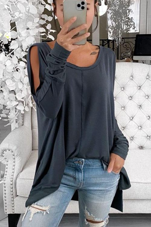 Kyledress Versatile Loose Solid Casual Pullover T-Shirt Top