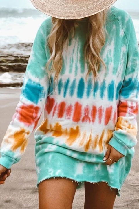 Kyledress Rainbow Tie Dye Casual Mini Dress