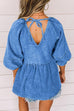 Kyledress V-Neck Open Back 3 / 4 Sleeve Denim Dress
