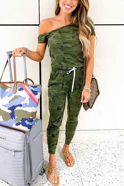 Kyledress Sunny Camo Off Shoulder Casual Jumpsuit
