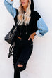 Kyledress Street Fashion Denim Patchwork Hoodie Top