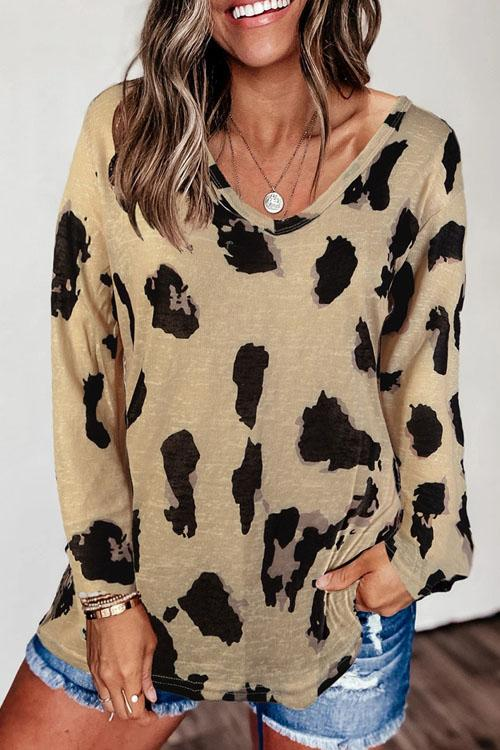 Kyledress V Neck Leopard Casual T-Shirt Top