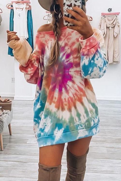 Kyledress Tie Dye Off Shoulder Casual Hoodie Dress