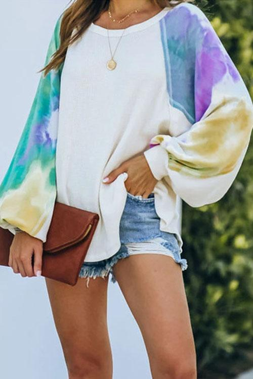 Kyledress Tie Dye Printed Long Sleeve Hoodie Top