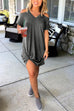 Kyledress V Neck Dew Shoulder Knot Mini Dress