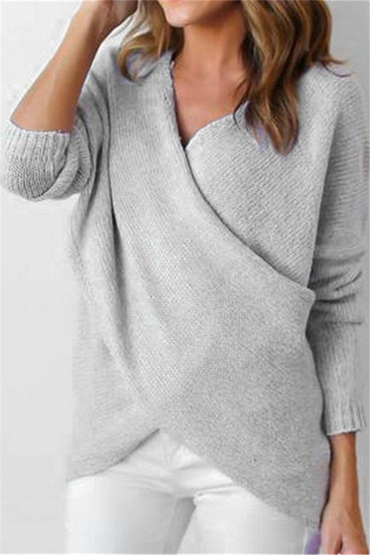 Kyledress Surplice Neck Knitted Sweater